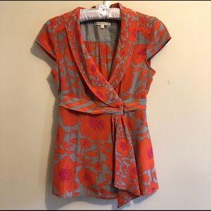 Nannette Lepore Size 2 Floral Print Blouse Top